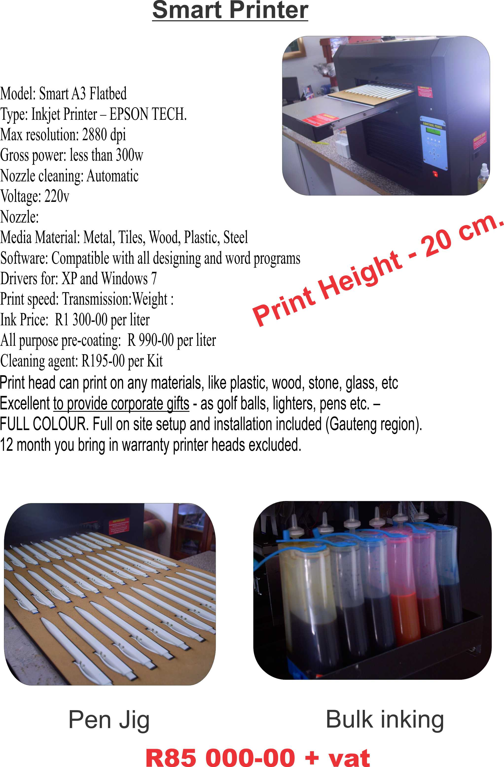 Printing business wrehouse start your own corporate gift printing business this all purpose printer can print on pen lighters golf balls tiles painter canvas cds and dvds reheart Images